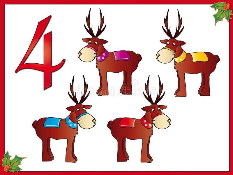Download 12 Days Of Christmas: 4 Reindeer Stock Illustration - Image: 10506165