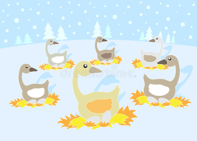 12 Days Of Christmas 6 Geese A Laying Stock Vector Illustration