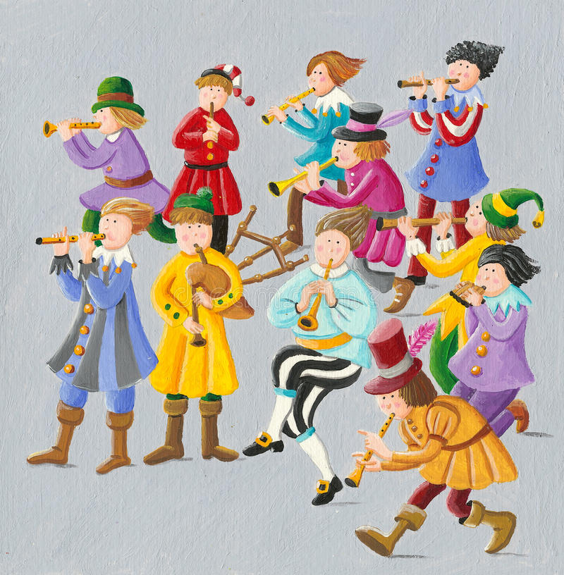 12 days of Christmas - Eleven Pipers Piping vector illustration