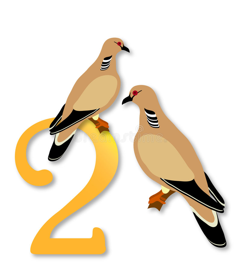 Free 12 Days Of Christmas: 2 Turtle Doves Royalty Free Stock Photography - 363657
