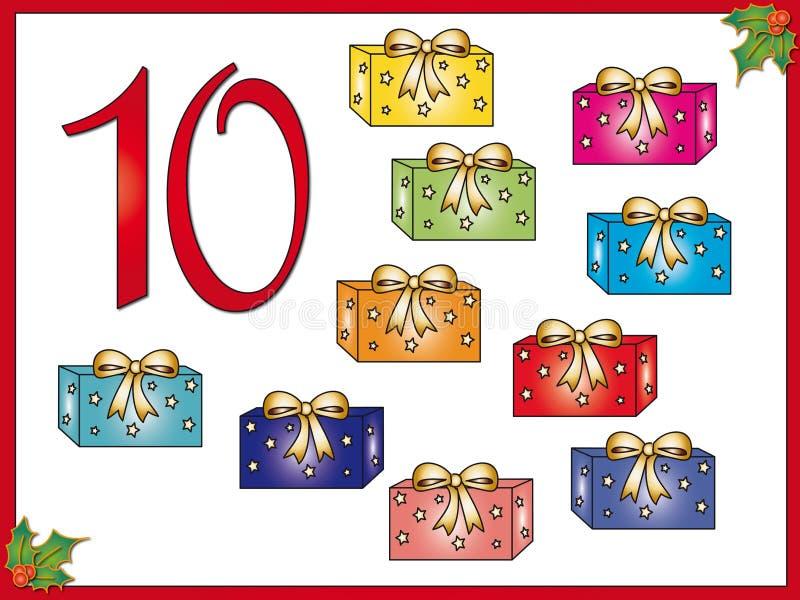 12 dias do Natal: 10 presentes ilustração royalty free