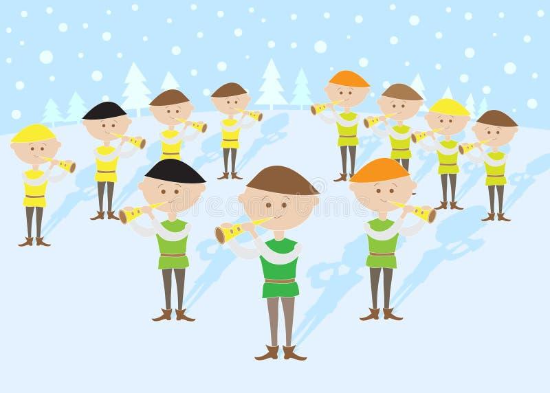 12 dias do Natal: Condução por meio de canos de 11 gaiteiros ilustração stock