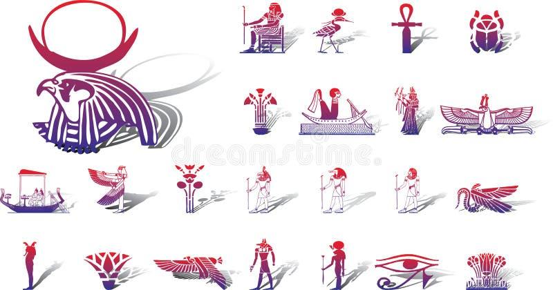 12 a duże Egiptu ikony ustawienia royalty ilustracja