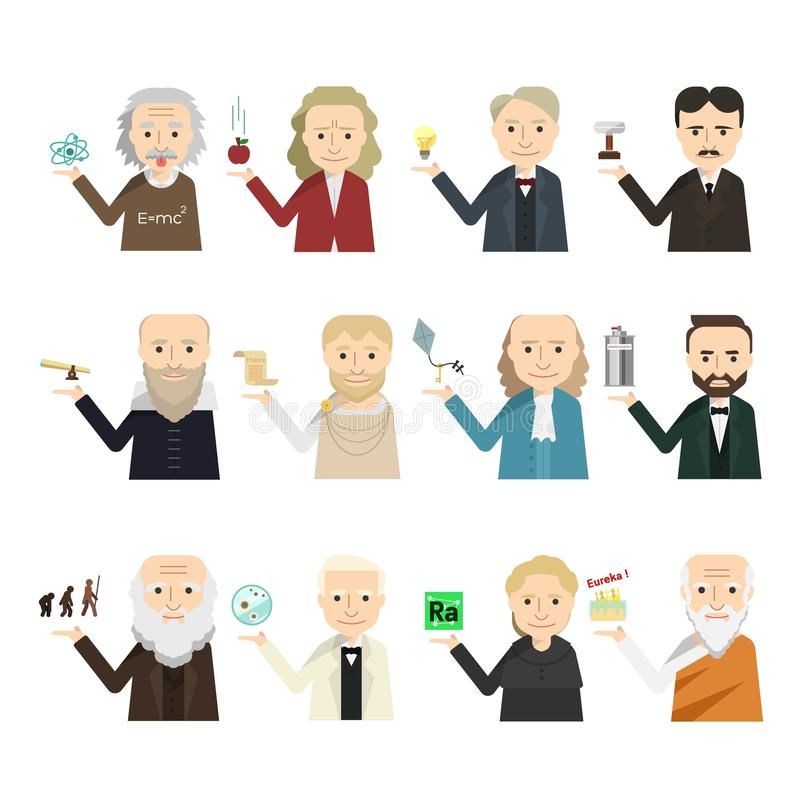 Free 12 Famous Scientist Icon Vector Set Royalty Free Stock Photos - 159812498