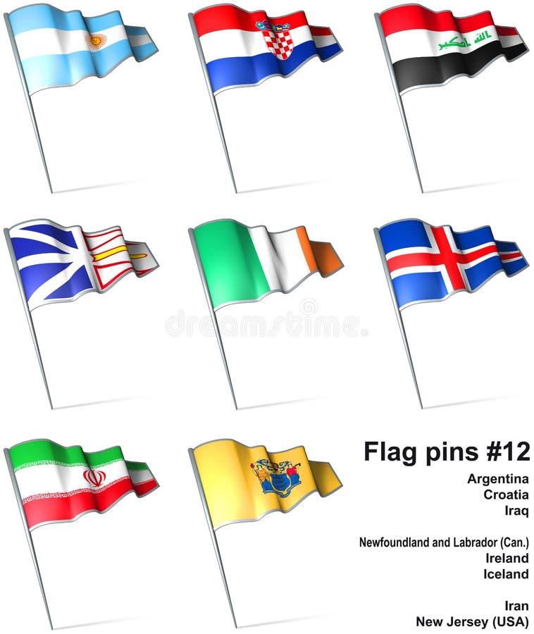 12 flaggastift royaltyfri illustrationer