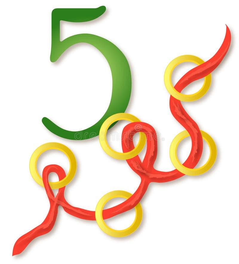 12 giorni di natale: 5 anelli dorati illustrazione di stock