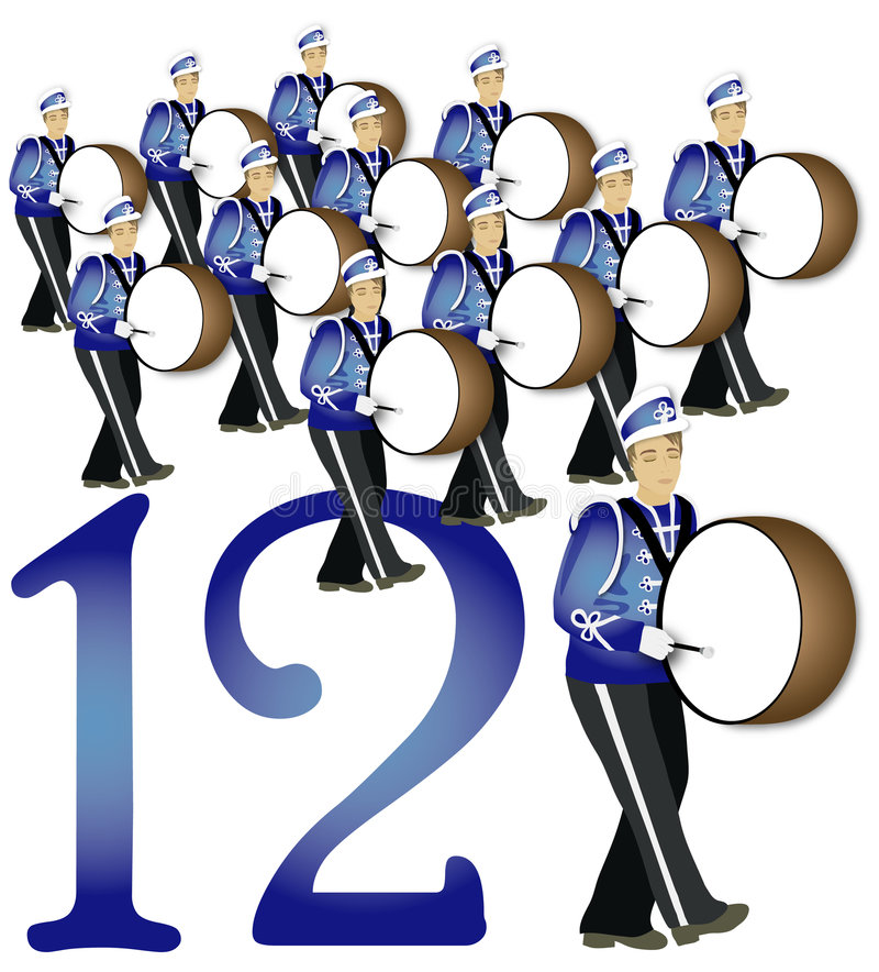 12 giorni di natale: Un rullo del tamburo dei 12 batteristi illustrazione vettoriale