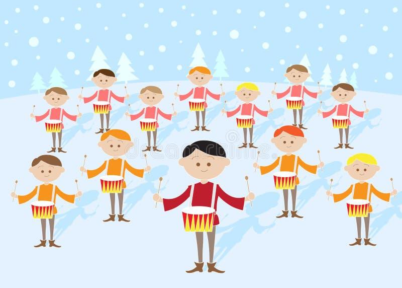 12 giorni di natale: Un rullo del tamburo dei 12 batteristi illustrazione di stock