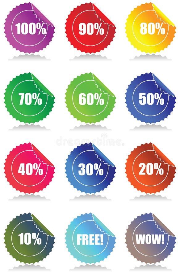 12 glansowanych sprzedaży ustalonej etykiety ilustracji