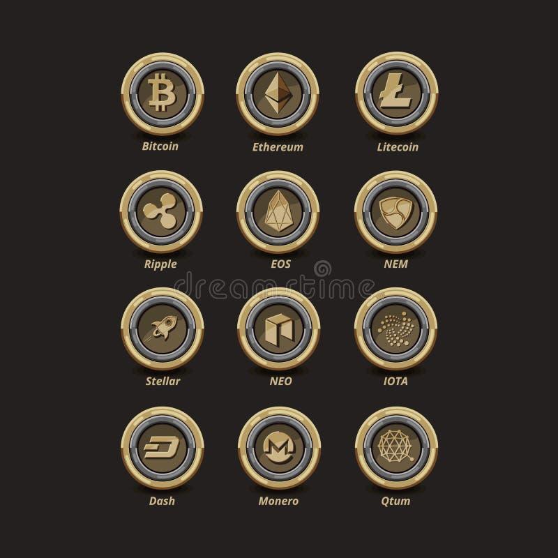 Free 12 Golden Virtual Money Coins Stock Photo - 108271070