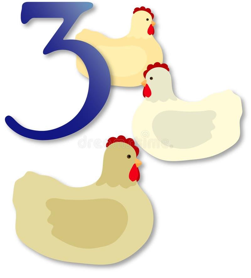 12 jours de Noël : 3 poules françaises illustration stock