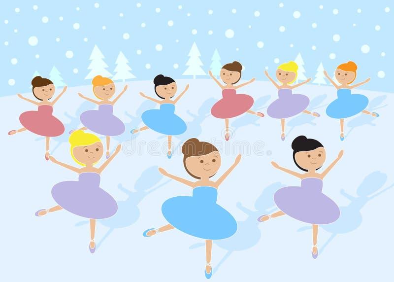 12 jours de Noël : Danse de 9 dames illustration stock