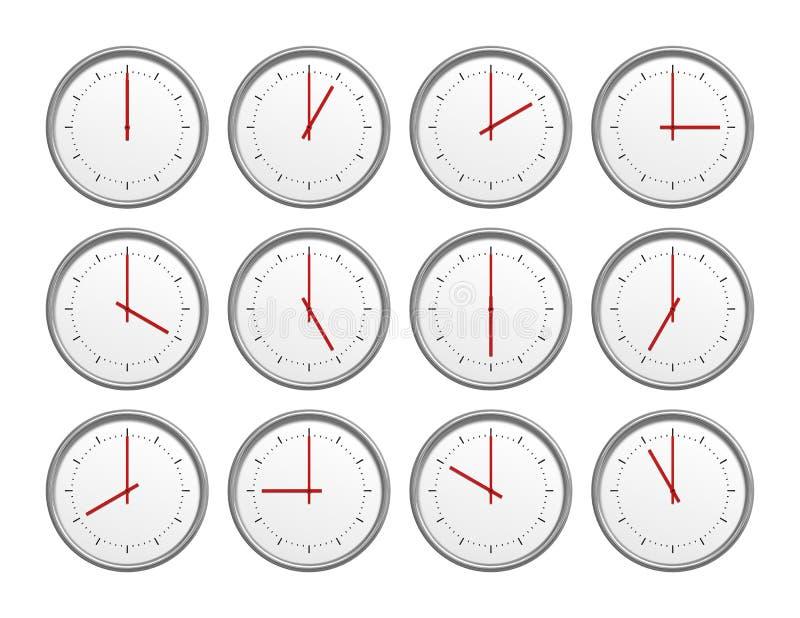 12 klockor vektor illustrationer