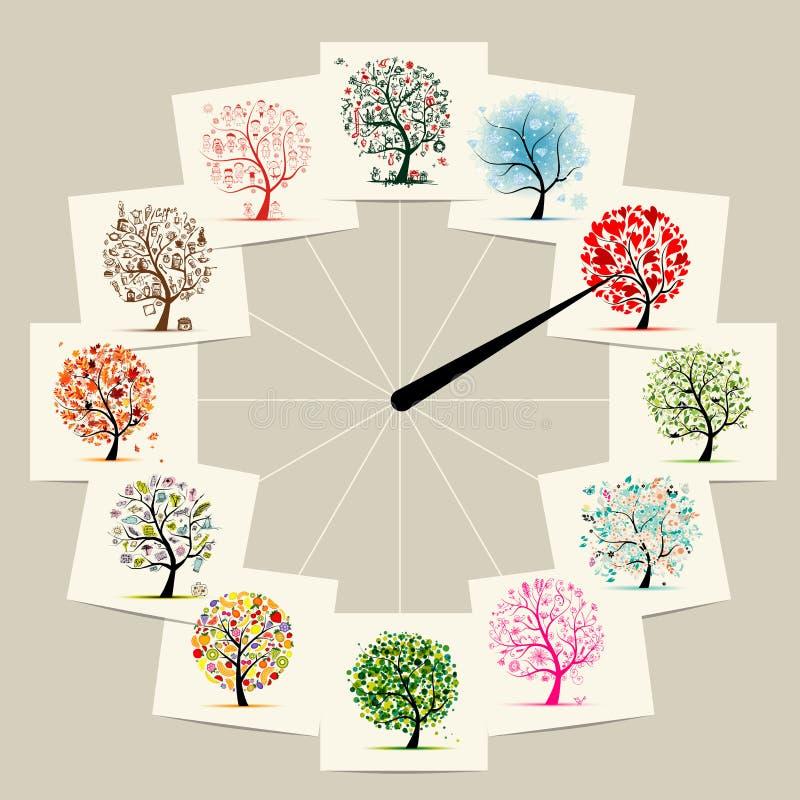 12 meses con los árboles del arte, diseño de concepto de los relojes libre illustration