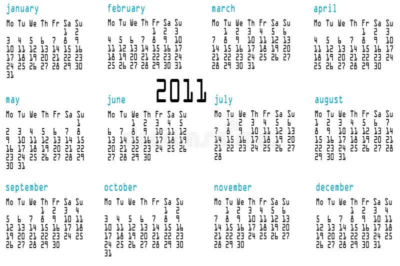 Download 12 month calendar for 2011 stock vector. Illustration of everyday - 14373361