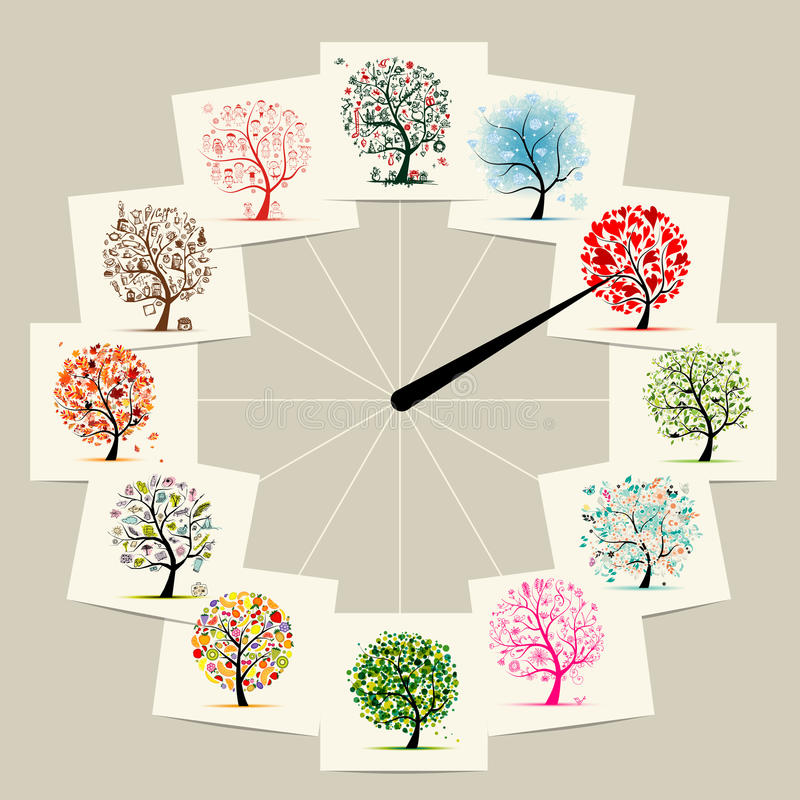 12 months with art trees, watches concept design. Vector royalty free illustration