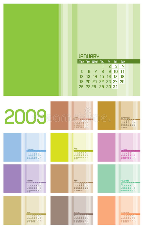 12 Pages Calendar 2009 - 12 Months Stock Photography
