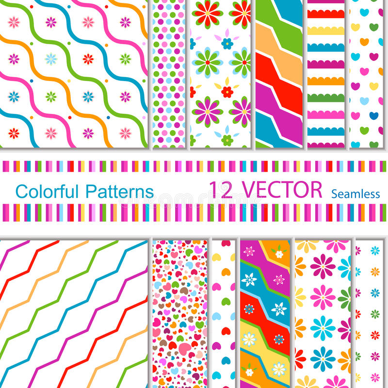 12 patterns royalty free illustration