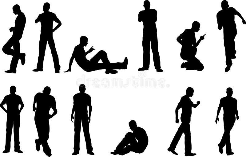 12 poses masculinos ilustração do vetor