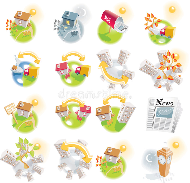 Free 12 Real Estate Detailed Icons Stock Photography - 8128042