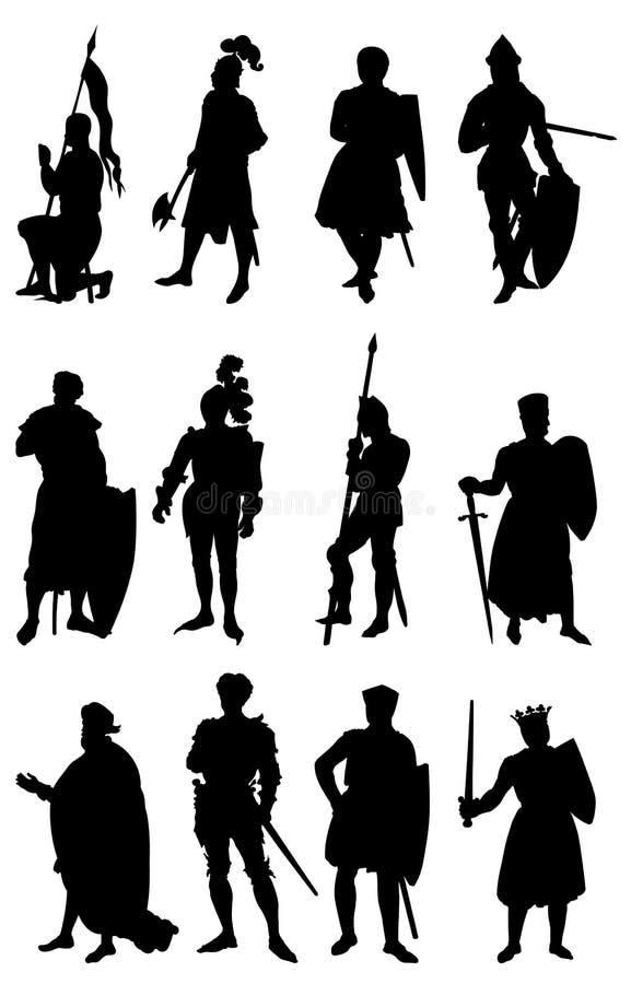 12 Ritter-Schattenbilder lizenzfreie abbildung
