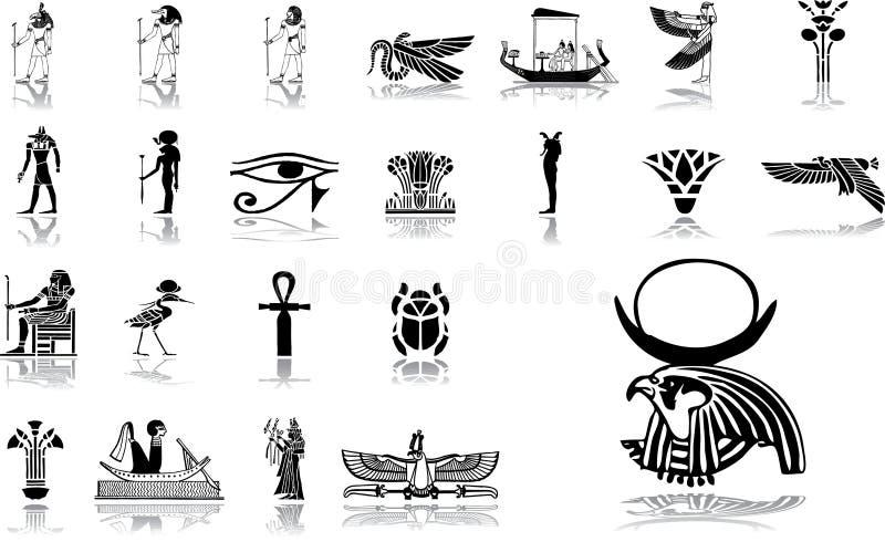 12 stora inställda egypt symboler vektor illustrationer