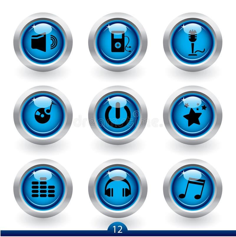 12 symbolsmusikserie stock illustrationer