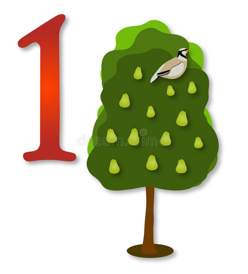 12 Tage Weihnachten: 1 Partrige in einem Birnen-Baum lizenzfreie abbildung