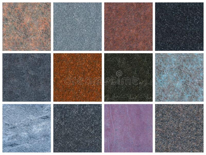 12 texturas naturais sem emenda do granito fotografia de stock royalty free