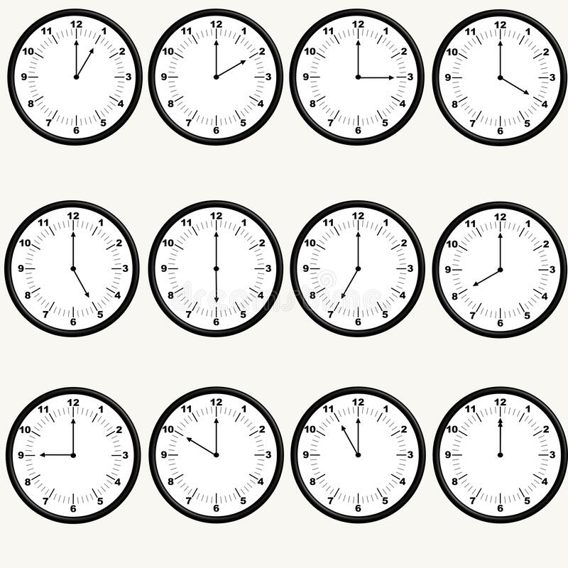 Free 12 Wall Clocks With All Hours, Black Border Royalty Free Stock Image - 182700906