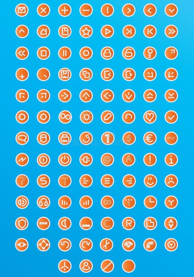 120个图标万维网 向量例证