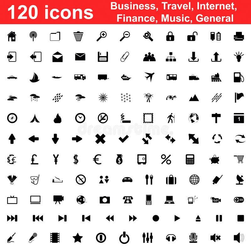 120 icone impostate royalty illustrazione gratis
