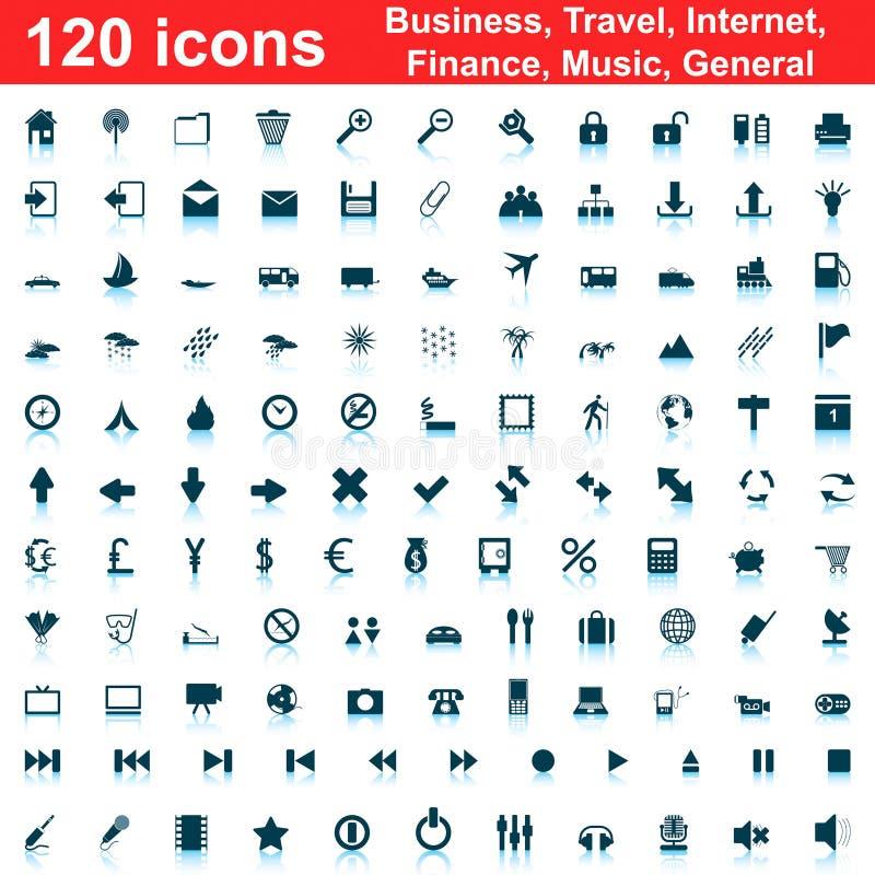 120 icone impostate illustrazione di stock