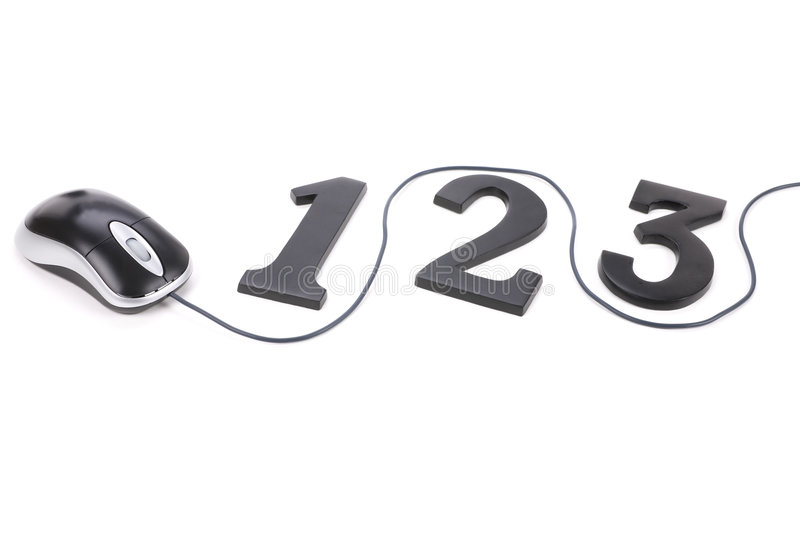 123 and computer mouse royalty free stock photos