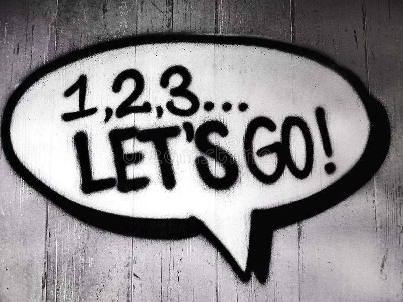123 Let's Go Imaginary Text royalty free stock images