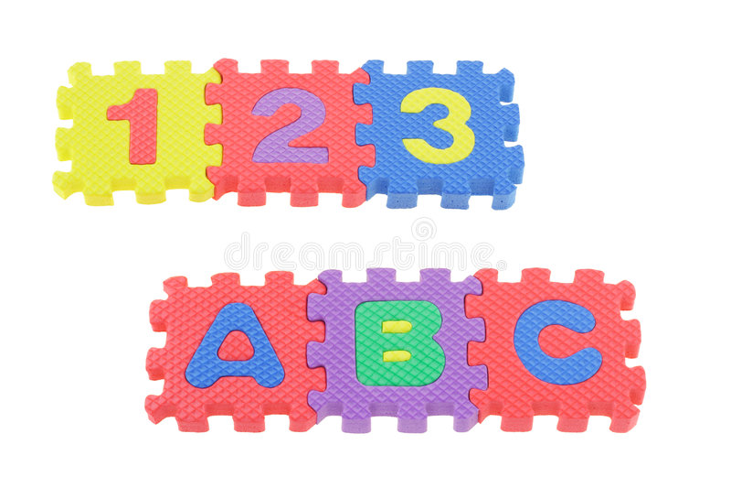 123 y ABC fotos de archivo