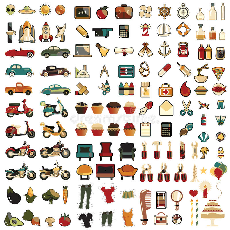 124 комплект иконы espeac 100 mega иллюстрация штока