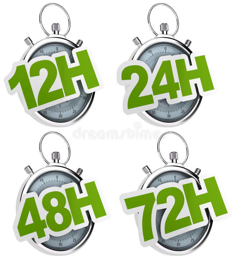 12H, 24H, 48H, 72H sticker isolated royalty free illustration