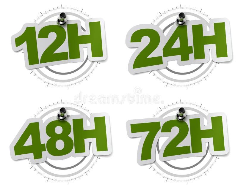 12H, 24H, 48H, etiquetas 72H verdes ilustração do vetor