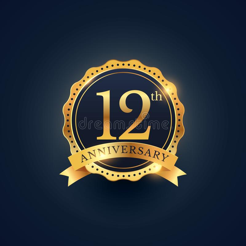 Free 12th Anniversary Celebration Badge Label In Golden Color Royalty Free Stock Photography - 101497217