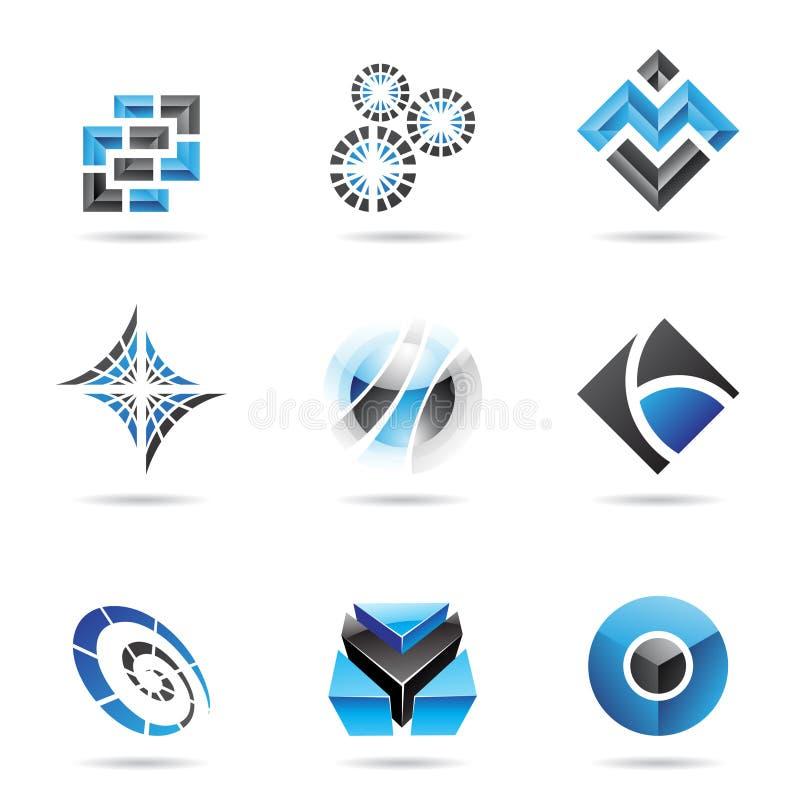 13抽象黑色蓝色图标集 库存例证