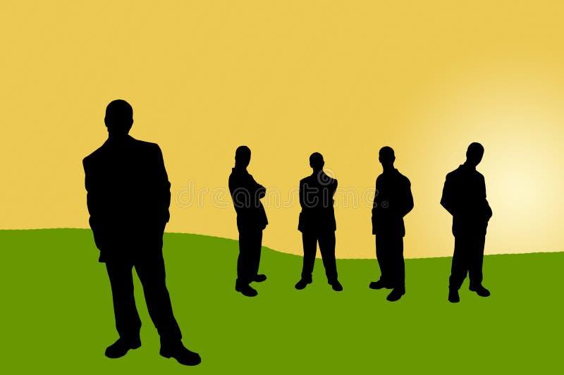 13 бизнесмены теней иллюстрация вектора