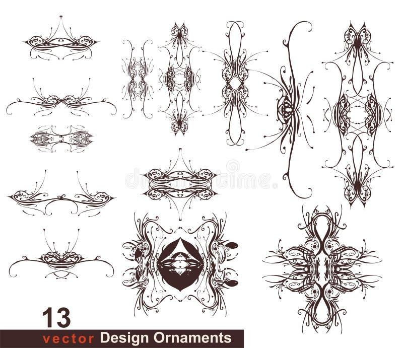 13 blom- prydnadar för design vektor illustrationer