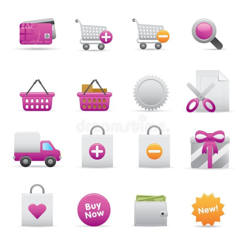 13 Purple Shopping Icons stock illustration