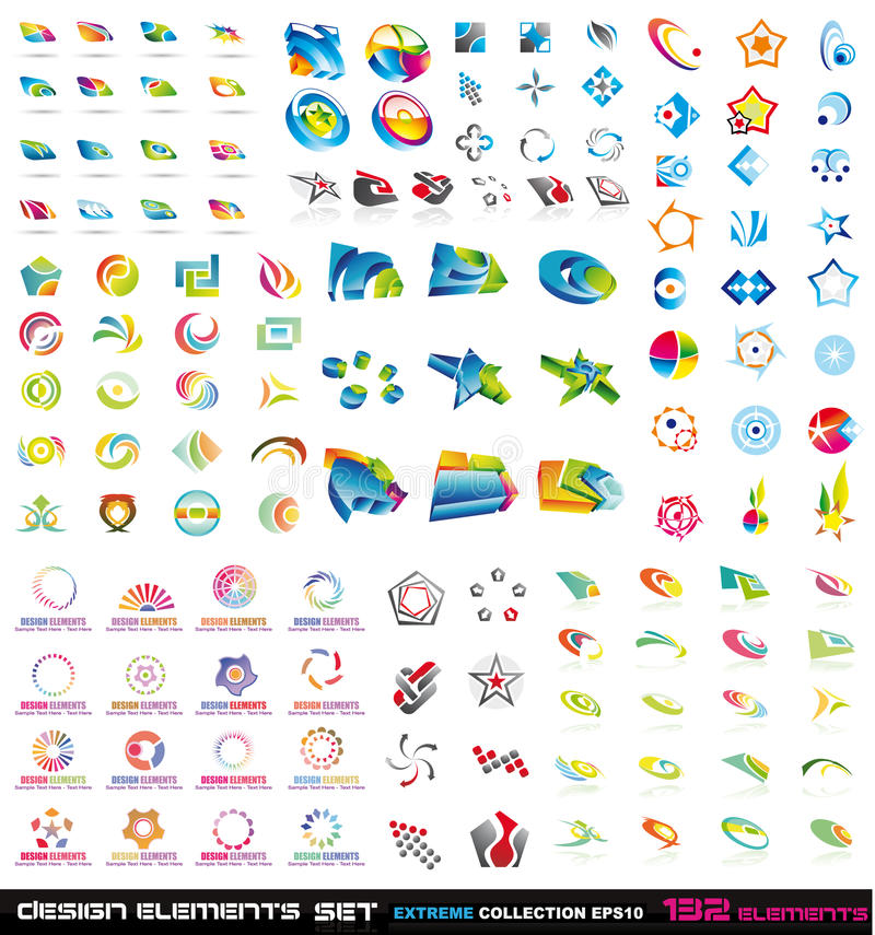132 de abstracte Elementen tweede van het Ontwerp en 3D royalty-vrije illustratie