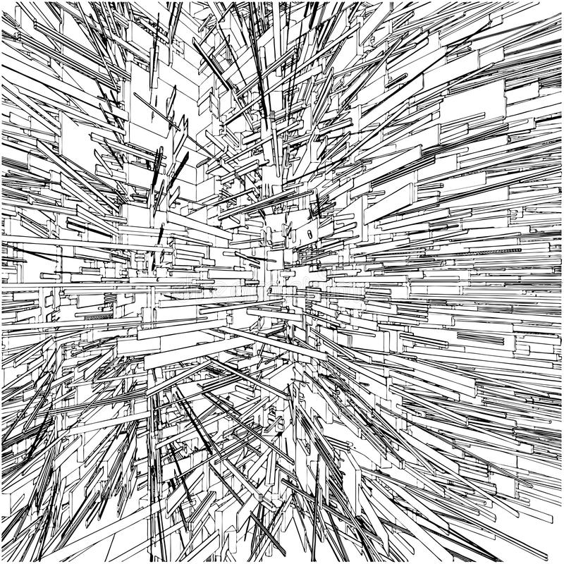 134 abstrakcjonistycznego budynków chaosów miasta miastowy wektor ilustracja wektor