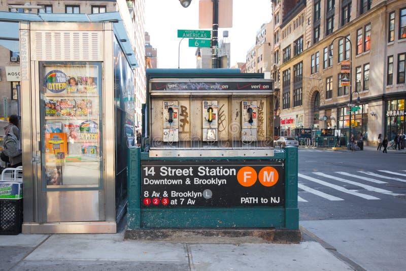 14个交叉点nyc街道地铁 库存图片