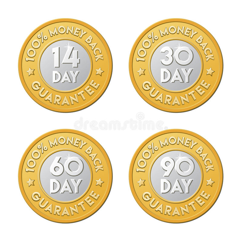 Free 14, 30, 60, 90 Money Back Guarantee Labels. Vector Signs In The Stock Images - 71090434