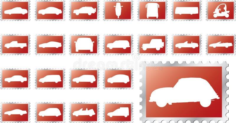 14 duży samochody ustawiających znaczka royalty ilustracja