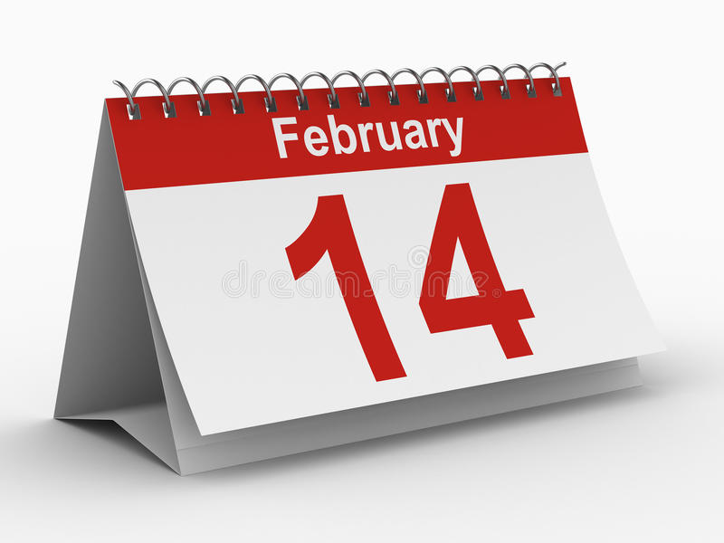 14 february calendar on white background royalty free illustration